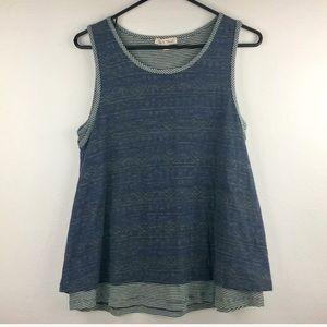 Hem & Thread stripe/denim blue layered tank top-M